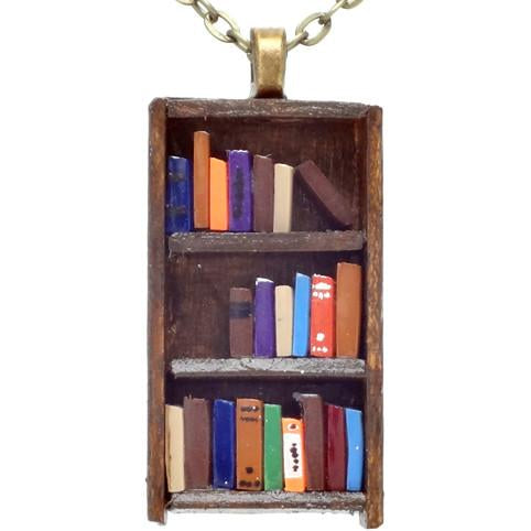 Books on Dark Wood Bookcase Necklace