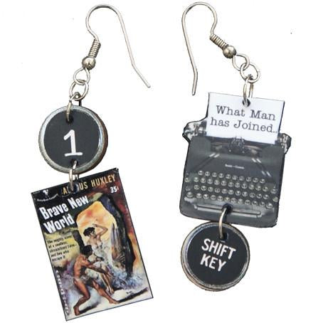 Brave New World Typewriter Earrings