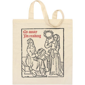Go Away I'm Reading Woodcut Tote Bag