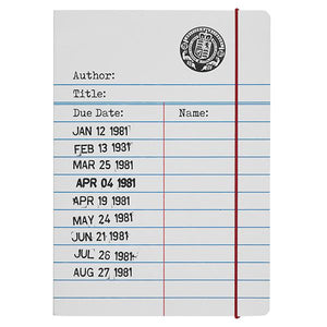 Library Card A5 Hardback Notebook - Grey