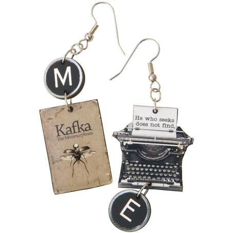 Kafka Metamorphosis Typewriter Earrings