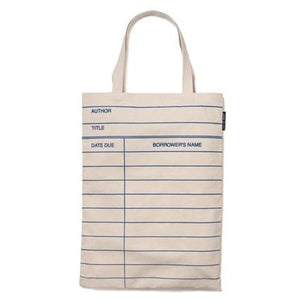 Library Card Tote Bag - Natural
