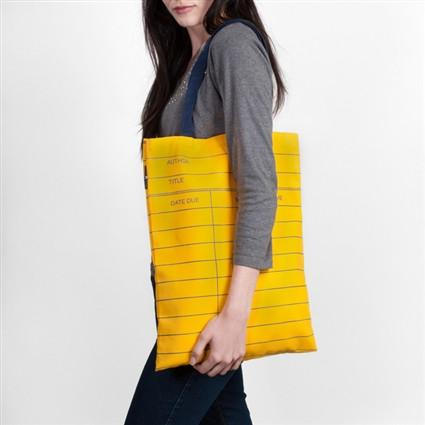 Library Card Tote Bag - Yellow