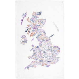 Literary Map of the UK Dish Towel