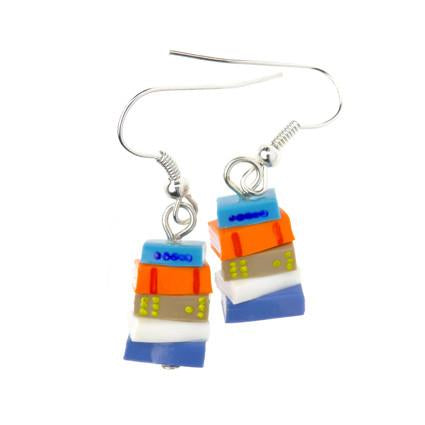 Orange and Blue Stack of Books Earrings