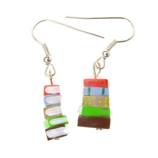 Orange And Brown Stack Of Books Earrings