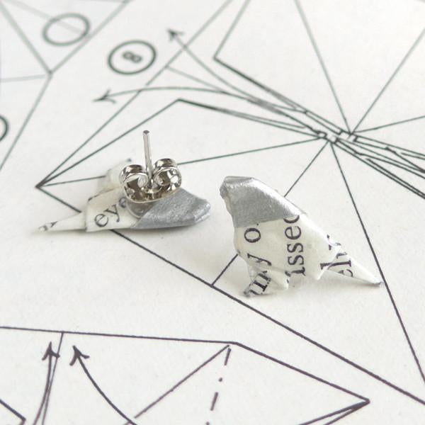 Origami Birds Earrings- Silver