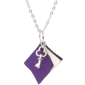 Purple Leather Book Necklace