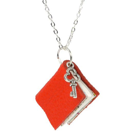 Red Leather Book Necklace