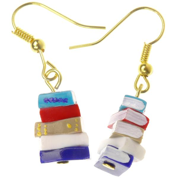 Red and Blue Stack of Books Earrings