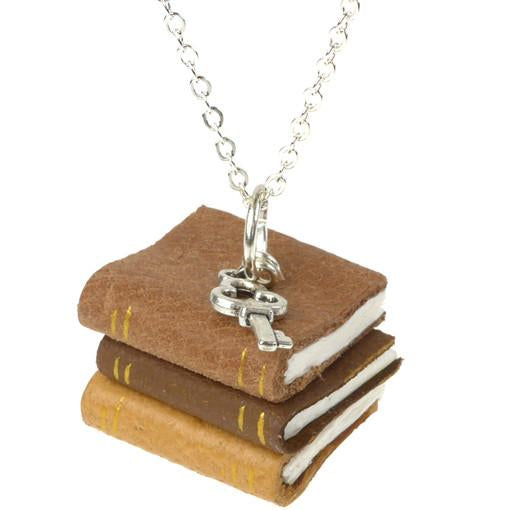 Tan Book Stack Necklace