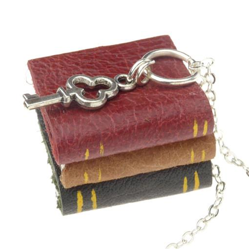 Claret and Green Book Stack Necklace