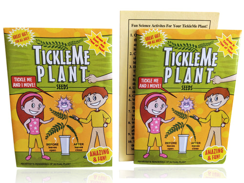 TickleMe Plant Seed Packets (2) - Fun Party Gift. Comes with Ten Fun Ideas To Do With Your TickleMe Plant