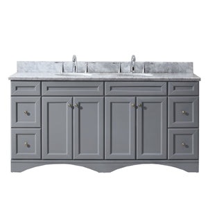 "Talisa 72"" Double Bathroom Vanity in Grey with Marble Top and Round Sink"