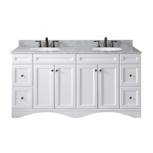 "Talisa 72"" Double Bathroom Vanity in White with Marble Top and Round Sink"
