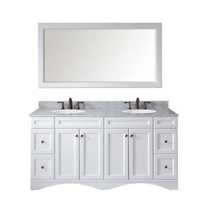 "Talisa 72"" Double Bathroom Vanity in White with Marble Top and Round Sink with Mirror"