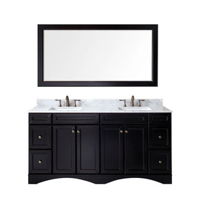 "Talisa 72"" Double Bathroom Vanity in Espresso with Marble Top and Square Sink with Mirror"