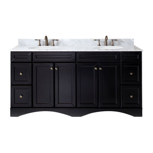 "Talisa 72"" Double Bathroom Vanity in Espresso with Marble Top and Round Sink"