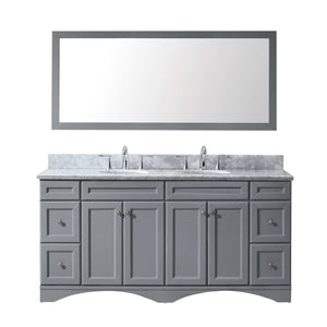 "Talisa 72"" Double Bathroom Vanity in Grey with Marble Top and Round Sink with Mirror"