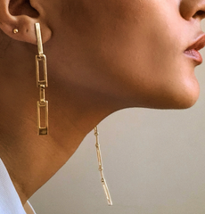 Faris - Grid Earrings - Bronze