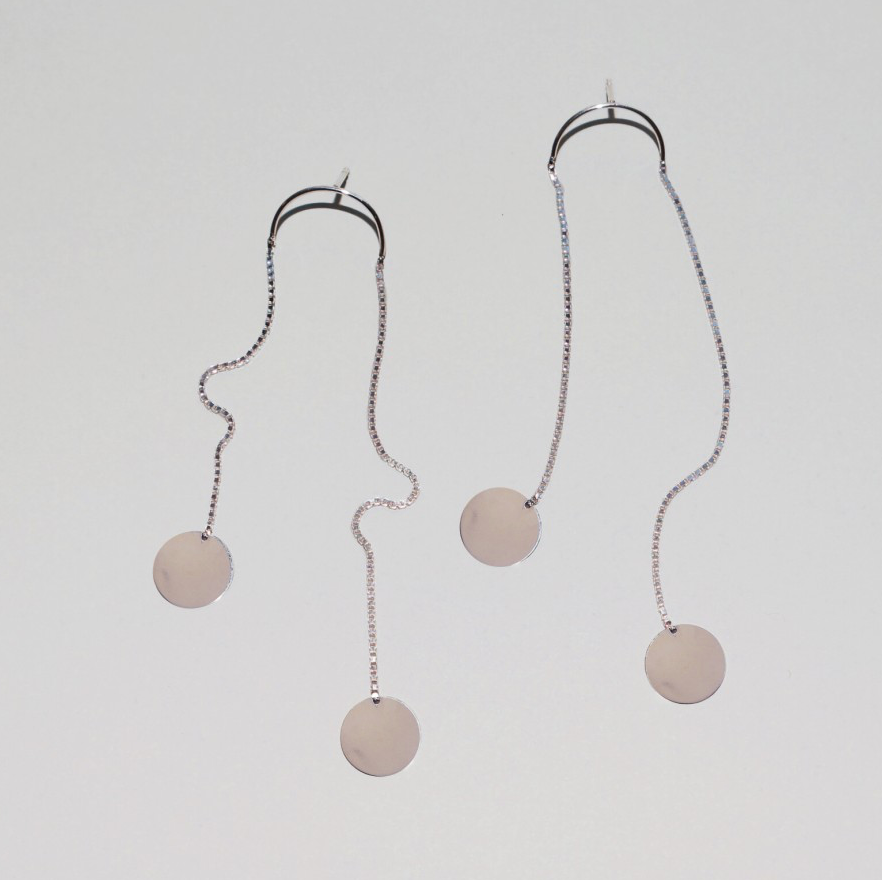 Saskia Diez - Paillettes Earrings Dancing No2 - Silver