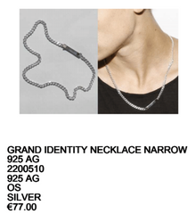 Saskia Diez - Grand Identity Necklace Narrow - Silver