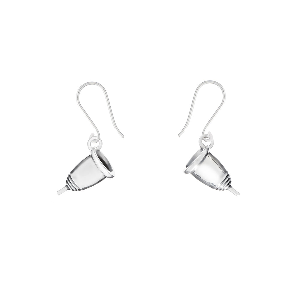 Silver menstrual cup earrings