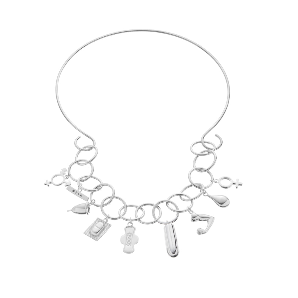 Statement bracelet with silver neckpiece
