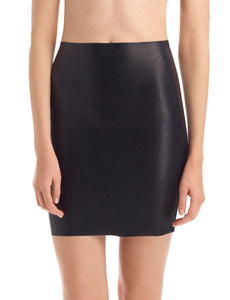 FAUX LEATEHR MINI-SKORT - Black