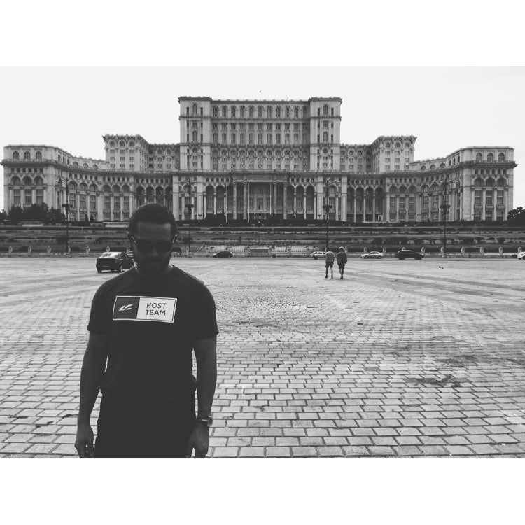 Our friend Cam in front of Parliament Building in Bucharest
