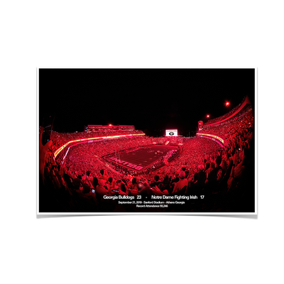 Georgia Bulldogs - Sanford Red Lights Georgia vs. Notre Dame - College Wall Art #Poster