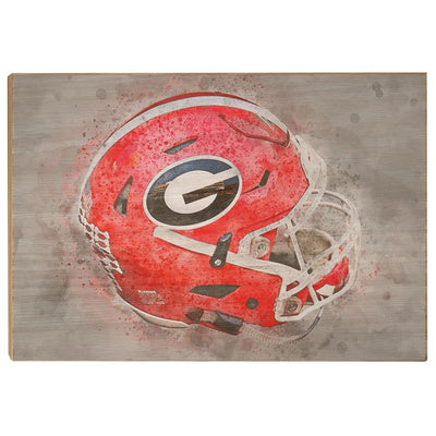 Georgia Bulldogs - Georgia Helmet Fine Art - College Wall Art #Wood