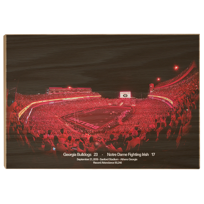 Georgia Bulldogs - Sanford Red Lights Georgia vs. Notre Dame - College Wall Art #Wood