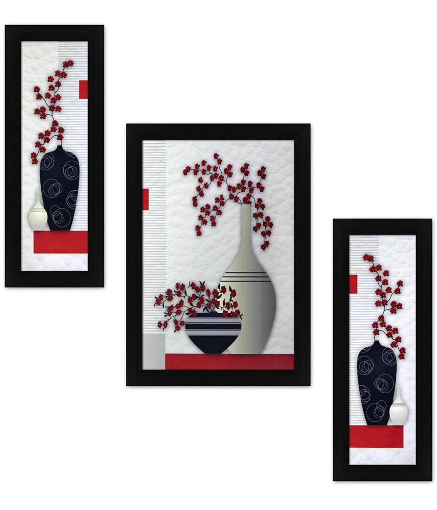 Colorful Flowers - Set of 3 Piece Floral Art Printed Poster - 12 x ...