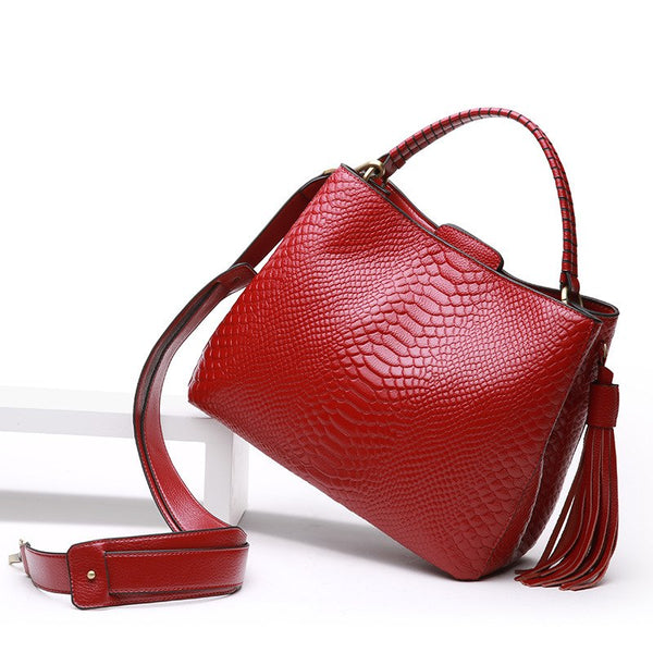 Serpentine Patterned Genuine Leather Satchel Bag - Lovely Mary Bags Store