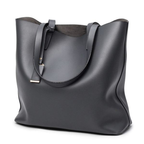 Wide Leather Tote Bag