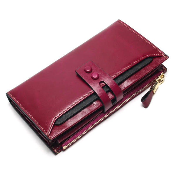 Genuine Leather Long Trifold Wallet - Lovely Mary Bags Store