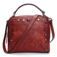 Vintage Rivet Leather Shoulder Bag - Lovely Mary Bags Store