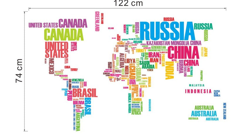Creative alphabets world map wall art decals creative alphabets world map wall art decals gumiabroncs Choice Image