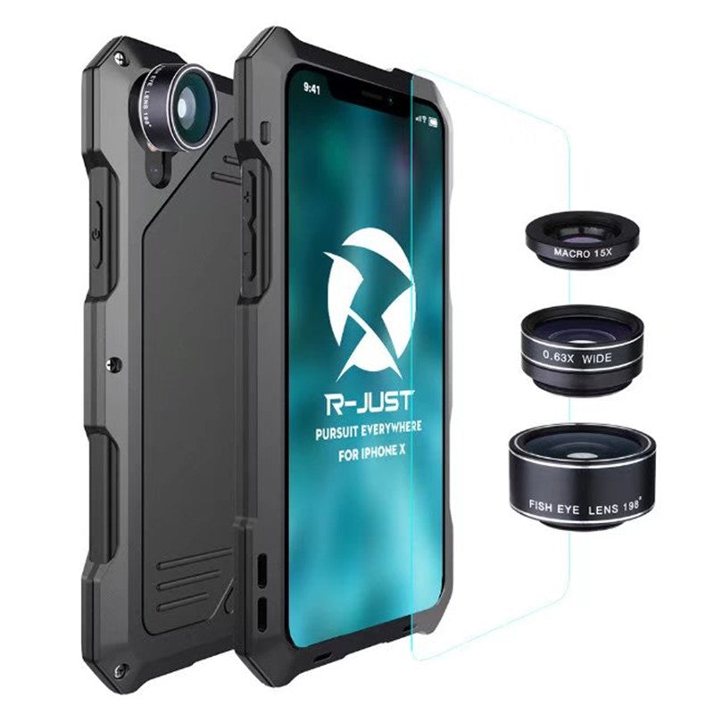 new style 0aa41 ab508 R-Just robust design iPhoneX case + 3 Lens Set