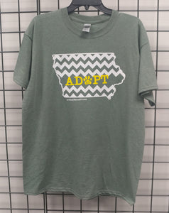 Adopt Chevron Iowa Design - Heather Military Green T-Shirt