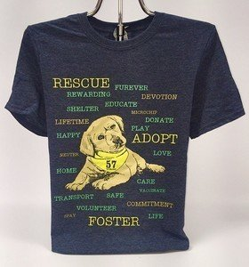 AHeinz57 - Heather Navy Puppy T-Shirt with Words