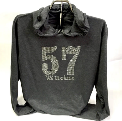 Bling 57 Cotton Long Sleeve Hoodie T - Dark Heather Gray