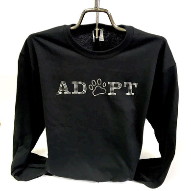 Bling ADOPT Cotton Long Sleeve T - Black or Sangria Pink