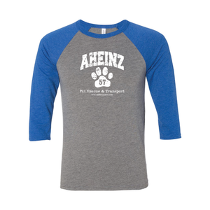 NEW - Distressed Arched Collegiate logo on a Raglan