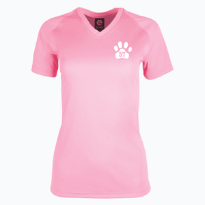 CLOSEOUT V-Neck Pink Ladies Dri Fit Tee