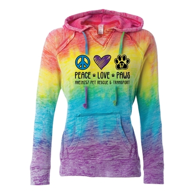 Peace Love Paws Tie Dye Hoodie ONLY size 2XL remaining