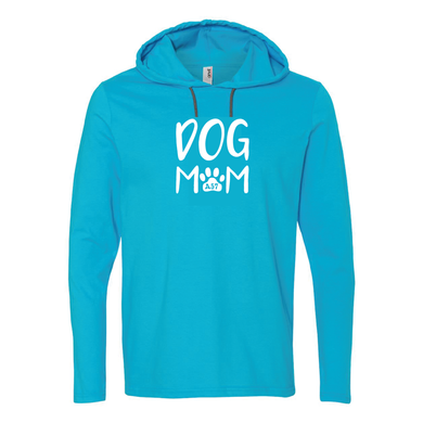 Dog Mom Carribean Blue Unisex Long Sleeve Hoodie Tee