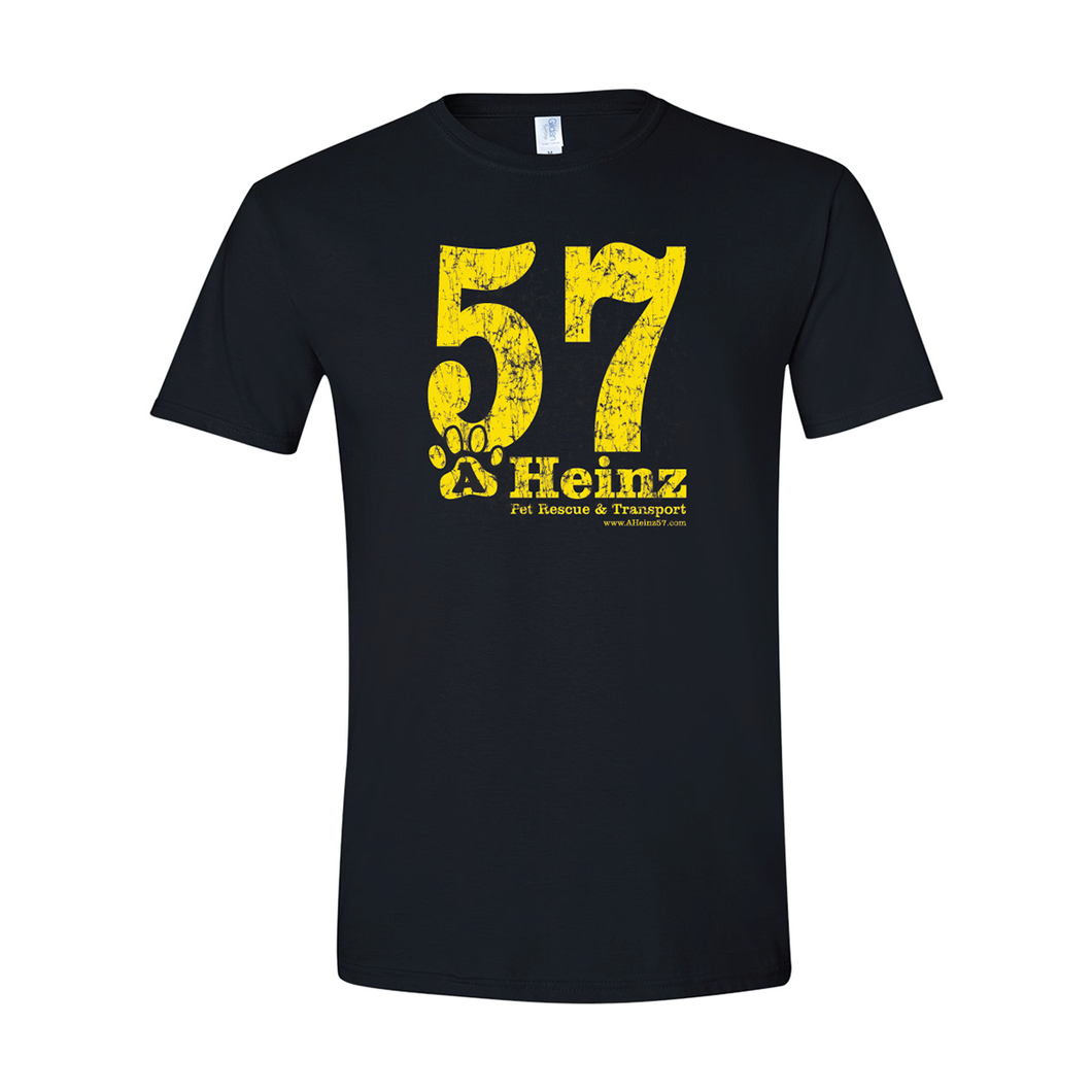 57 Full Front Logo (Distressed Yellow) Soft Style T-Shirt