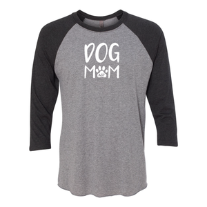 Dog Mom Vintage Black/Premium Heather 3/4 Sleeve Raglan